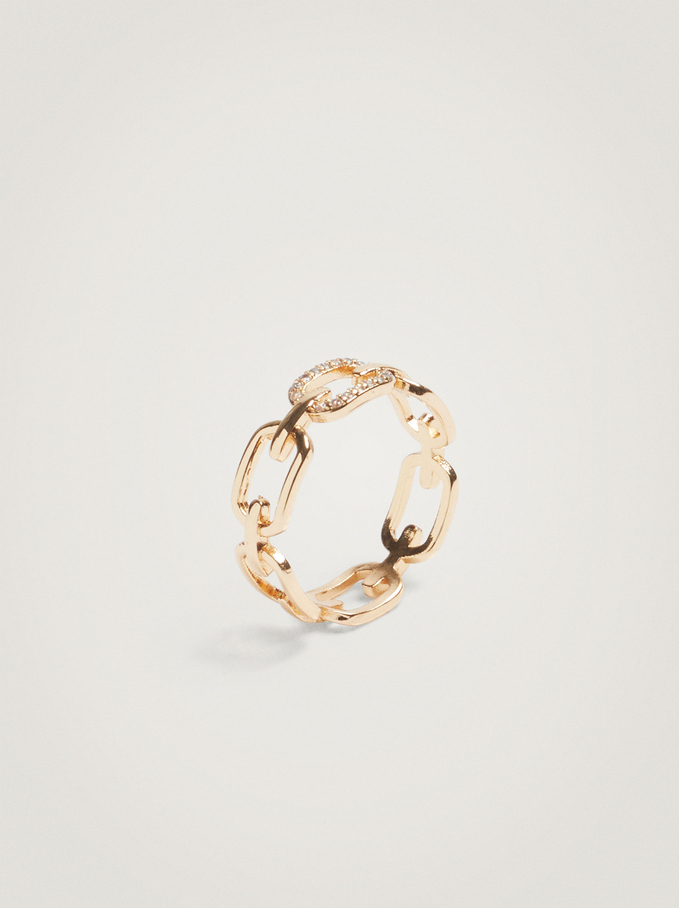Ring With Links And Crystals, Golden, hi-res
