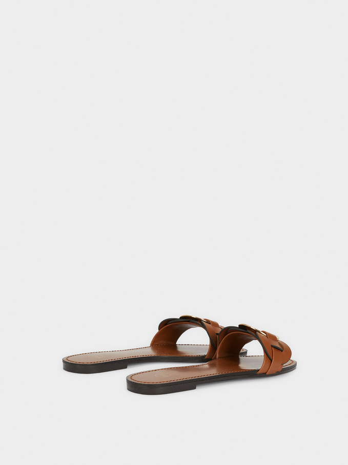 Flat Braided Sandals With Metal Detail, Camel, hi-res