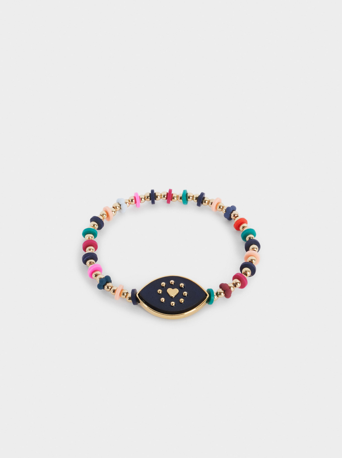 Elastic Bracelet With Eye And Beads, Multicolor, hi-res