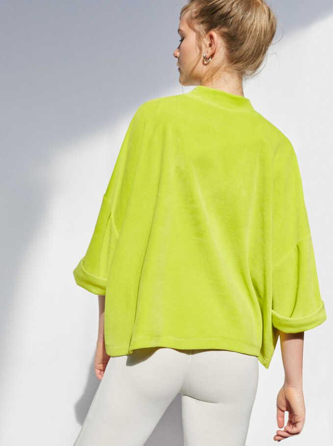 Plain Oversized Sweater, Yellow, hi-res