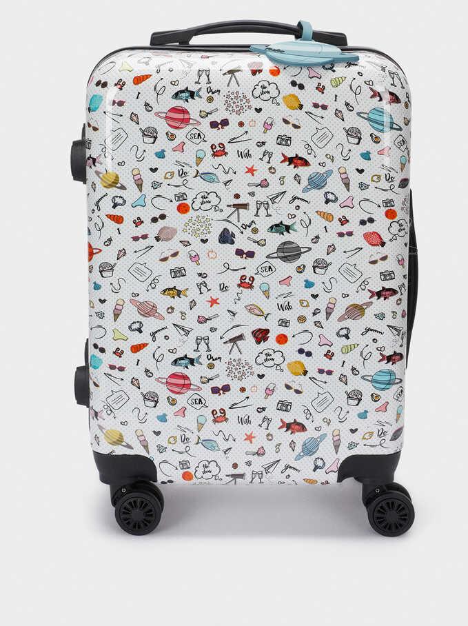 Valise Cabine Avec Imprimé, Noir, hi-res