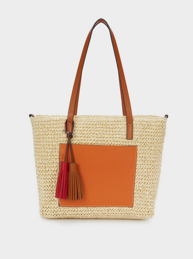 Textured Raffia Shopper Bag With Pendants, Beige, hi-res
