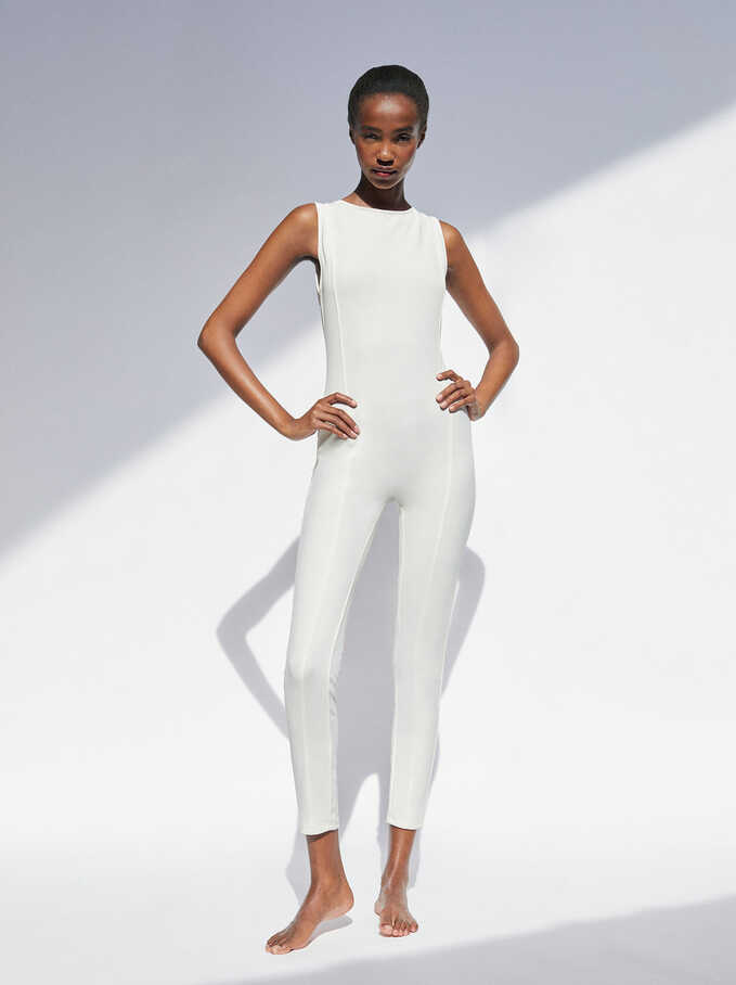 Cross Back Long Jumpsuit, White, hi-res