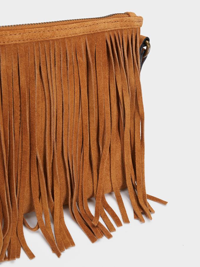 Textured Suede Crossbody Bag With Fringe, Camel, hi-res