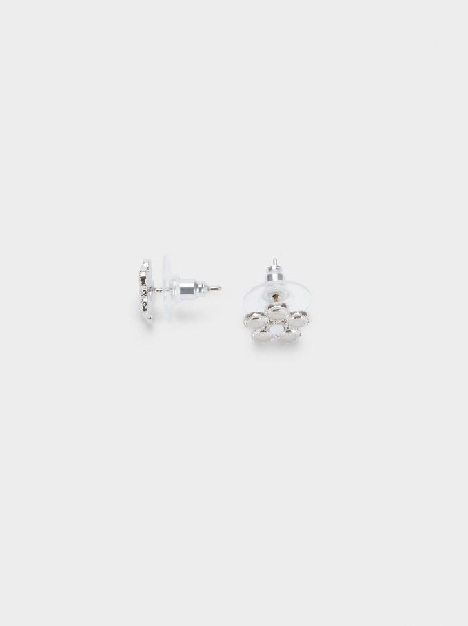 Flower Stud Earrings, Silver, hi-res