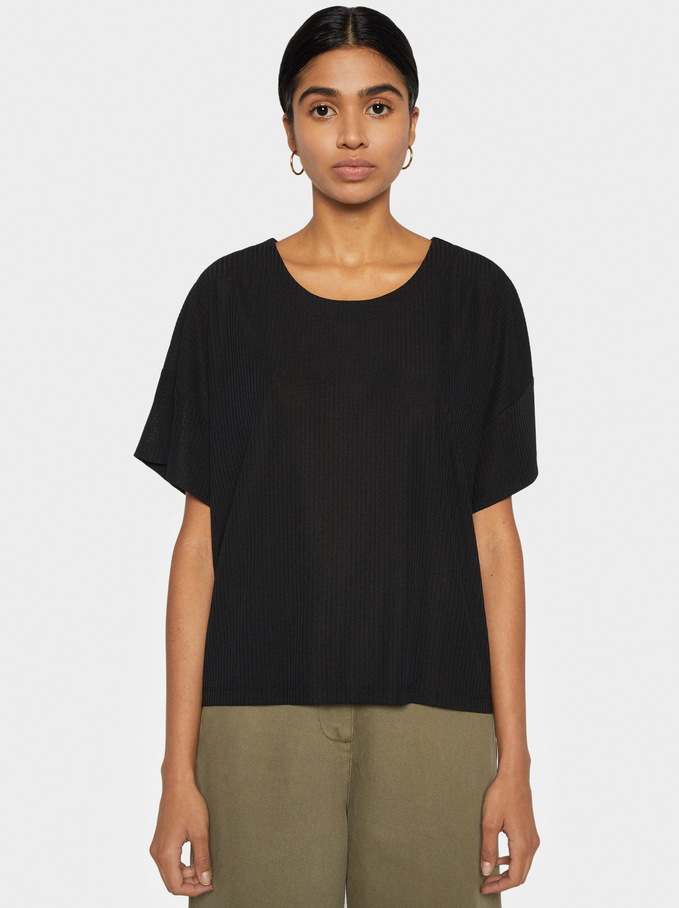 Basic Ribbed T-Shirt, Black, hi-res