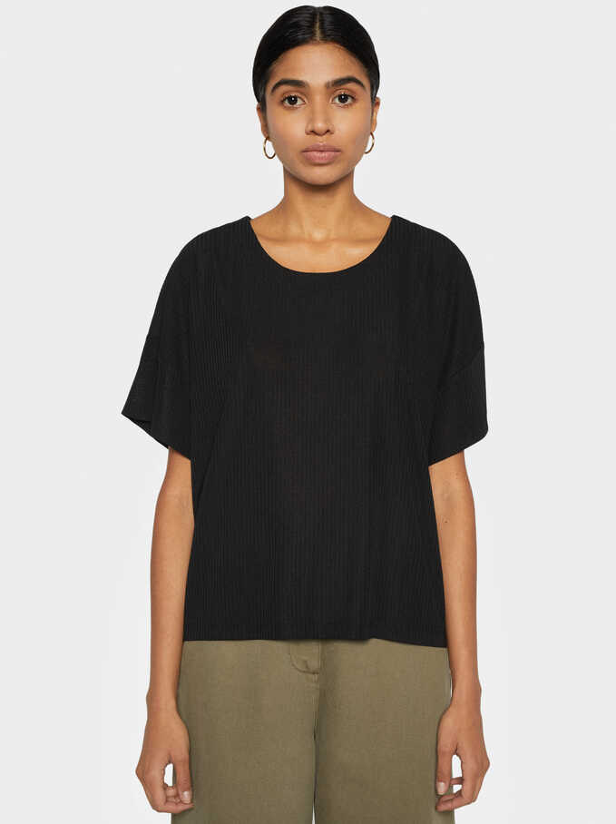 Basic Ribbed T-Shirt, Black, hi-res