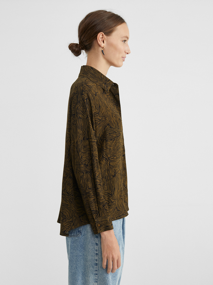 Printed Loose-Fitting Shirt, Khaki, hi-res