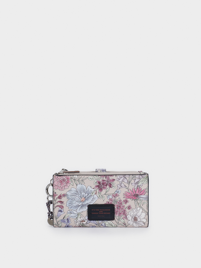Floral Print Purse, Brown, hi-res
