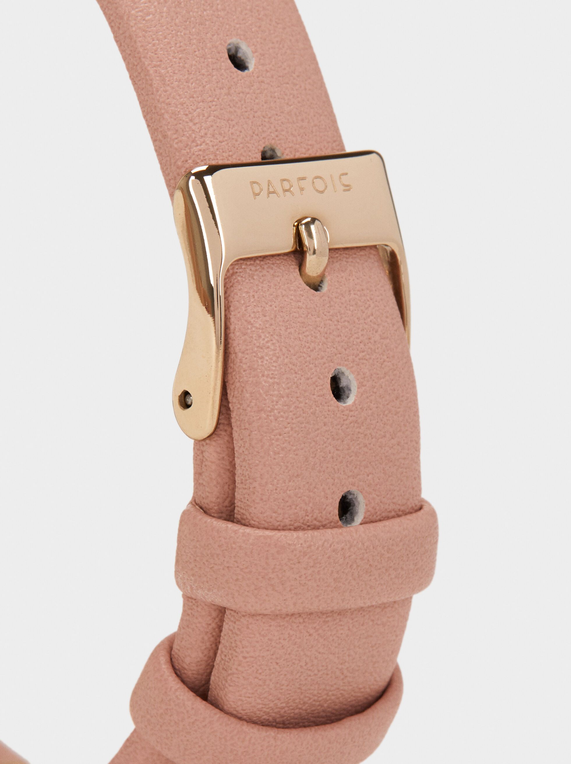 Watch With Textured Leather Wristband, Pink, hi-res