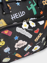 Printed Briefcase, Black, hi-res