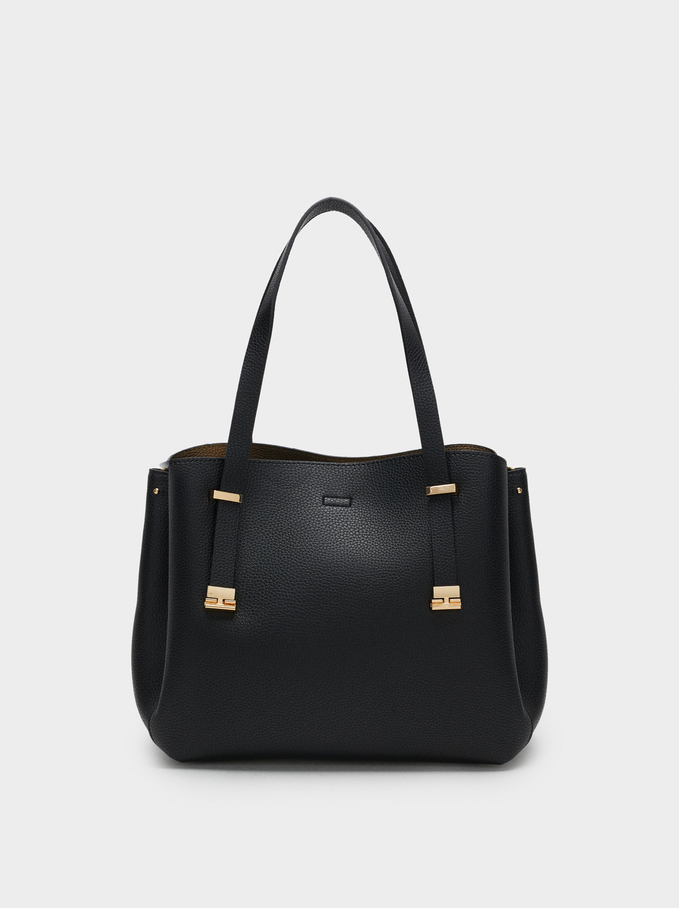 Embossed Tote Bag, Black, hi-res