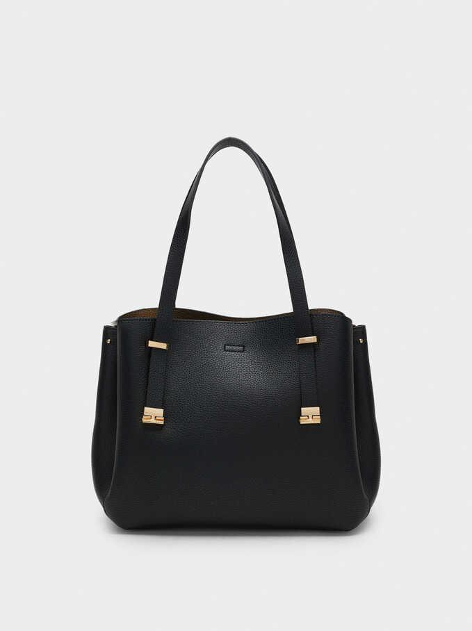 Embossed Tote Bag, Black, hi-res