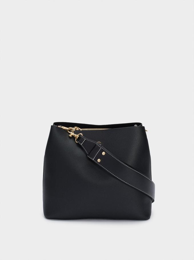 Shoulder Bag With Removable Shoulder Strap, Black, hi-res