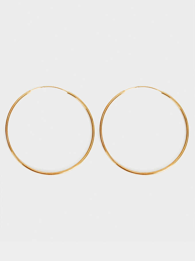Basic 925 Silver Large Hoop Earrings, Golden, hi-res