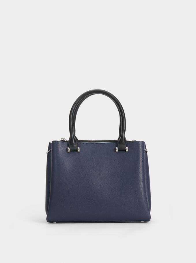 Large Faux Leather Handbag, Navy, hi-res