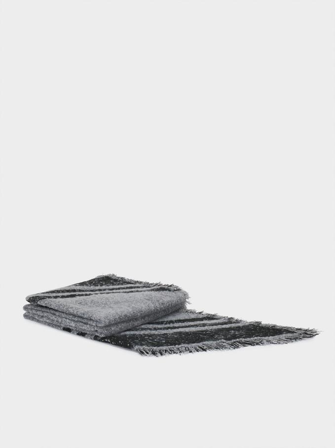 Multicoloured Maxi Scarf, Grey, hi-res