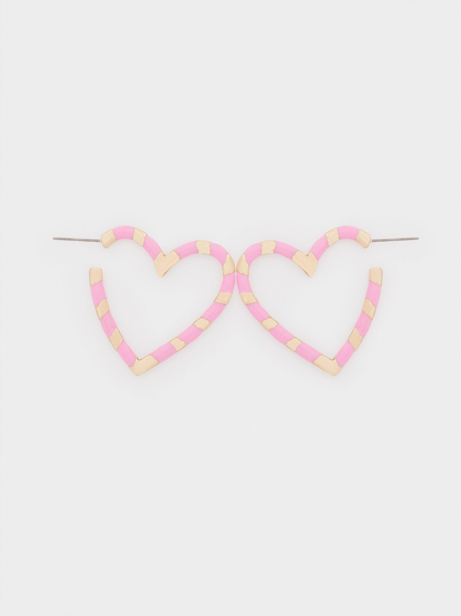Medium Metal Earrings With Heart Detail, Pink, hi-res