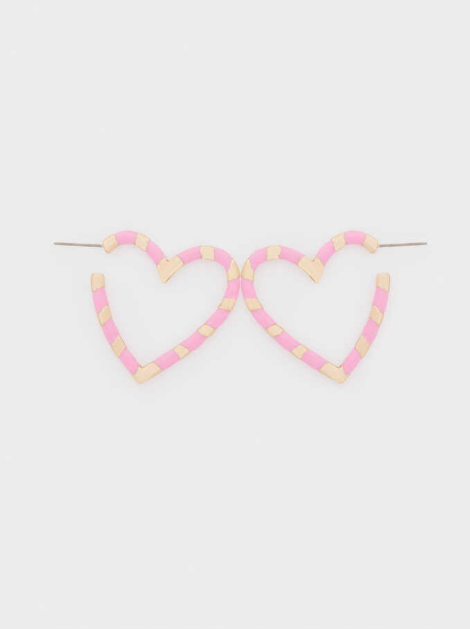 Medium Metal Earrings With Heart Detail, Pink, hi-res