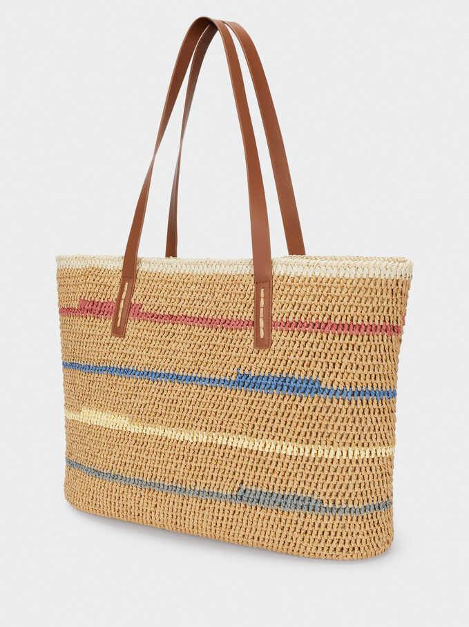Textured Raffia Tote Bag, Beige, hi-res