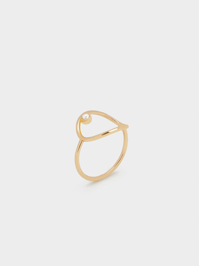 Ring With Pearl, Golden, hi-res