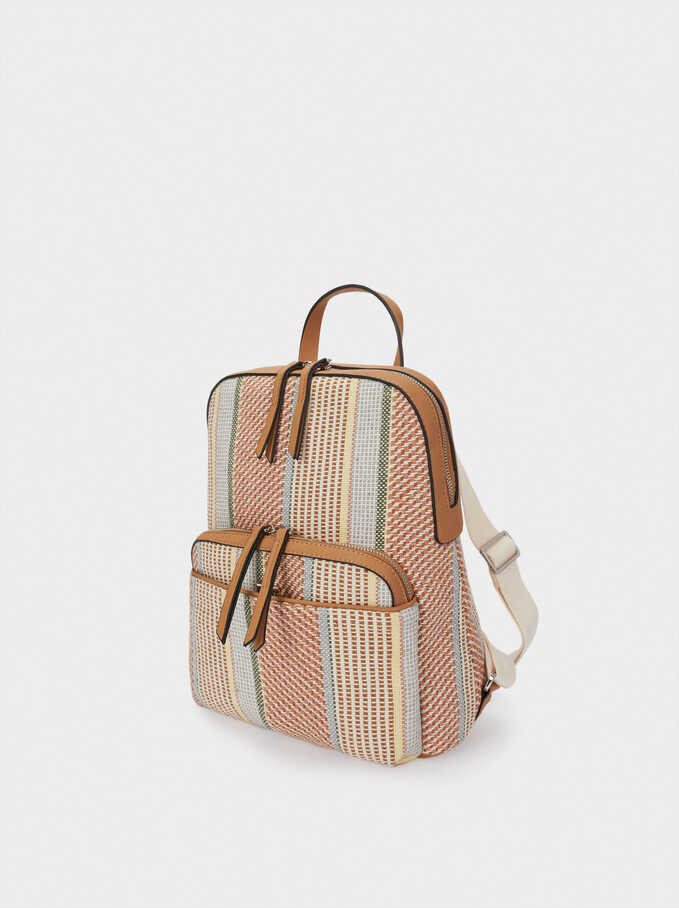 Backpack With Printed Fabric, Pink, hi-res