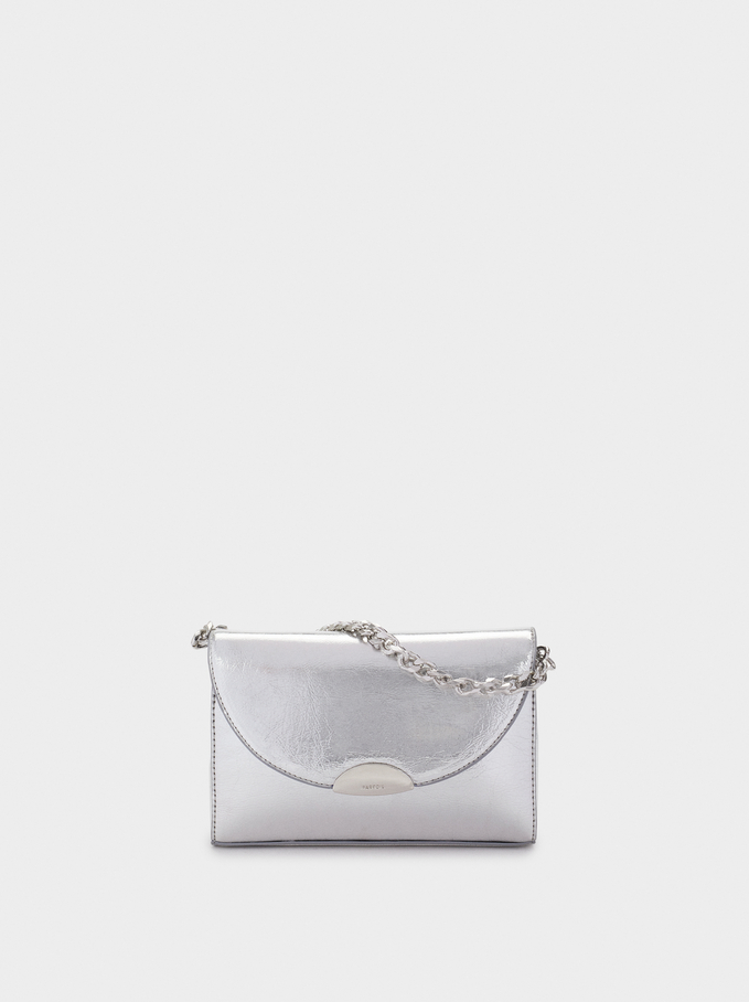 Clutch Bag With Flap Closure, Silver, hi-res