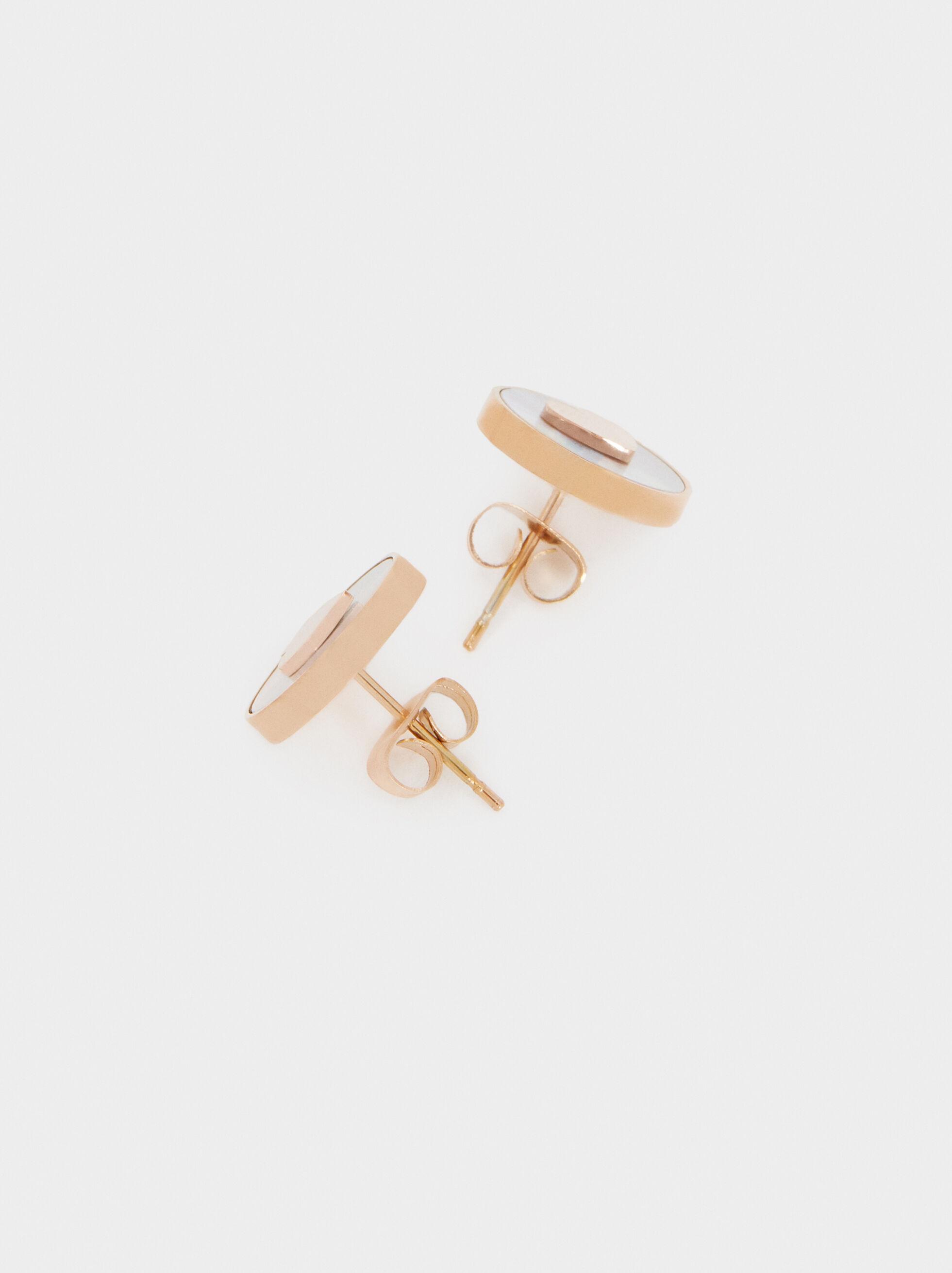 Rose Gold Stainless Steel Short Heart Earrings, Orange, hi-res