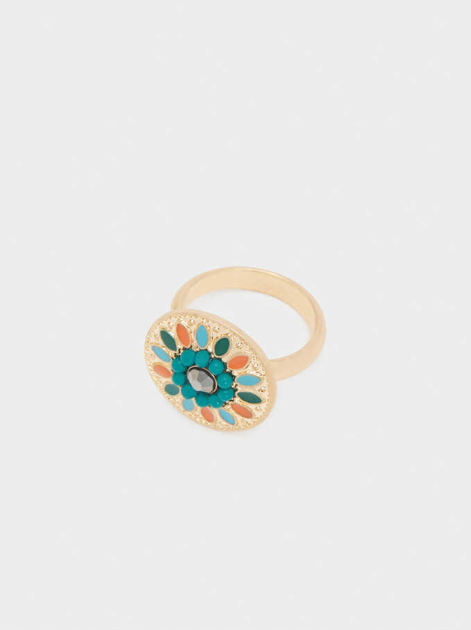 Signet Ring With Beads, Multicolor, hi-res