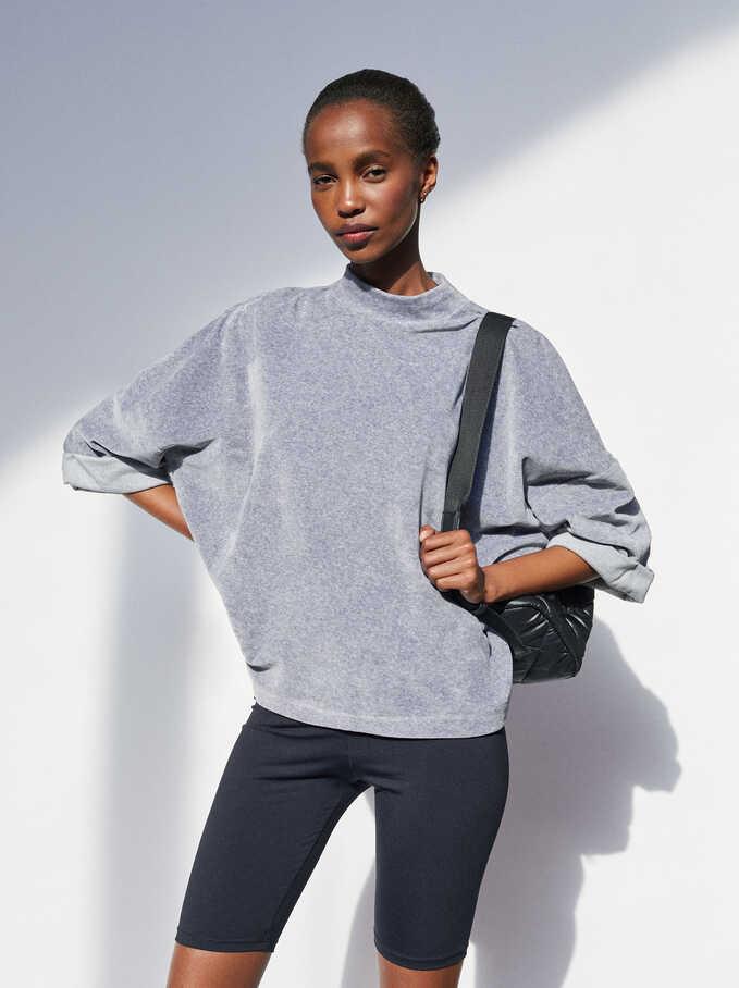 Plain Oversized Sweater, Grey, hi-res