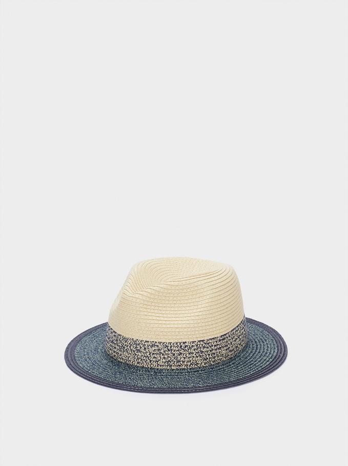 Woven Hat, Blue, hi-res