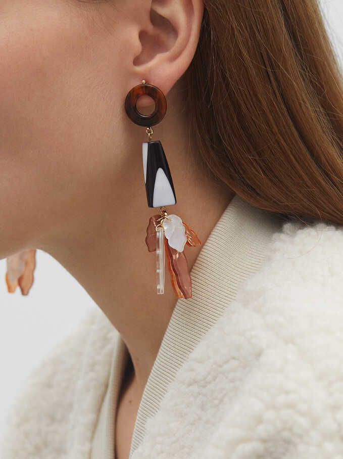 Extra Long Multicoloured Earrings, Multicolor, hi-res