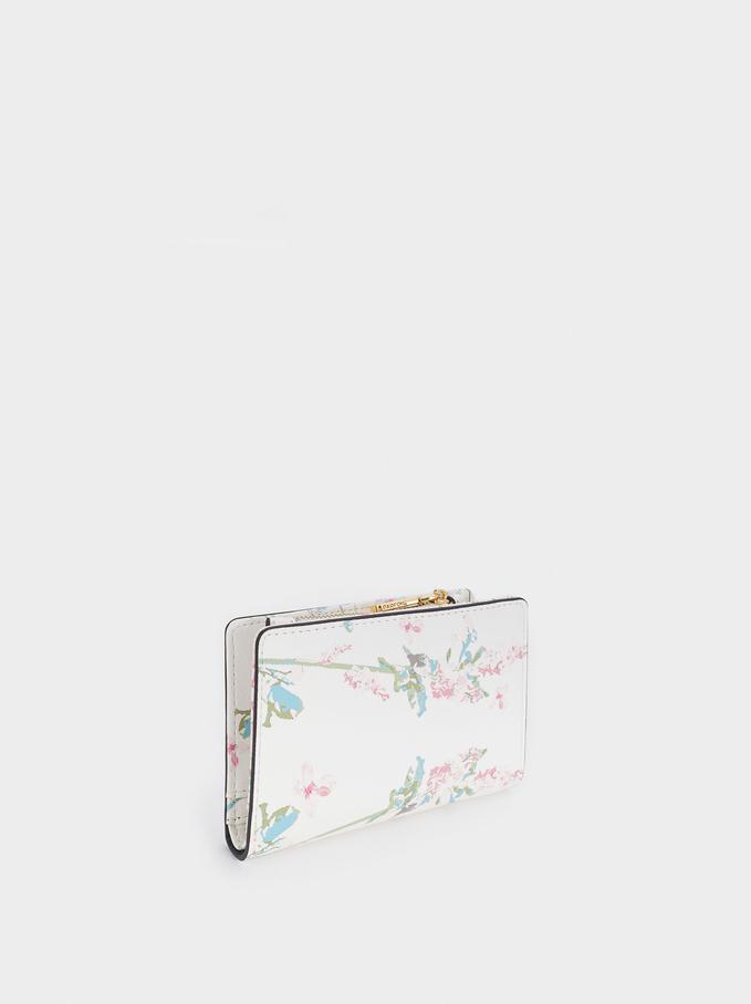 Cartera Compacta Con Estampado Floral, Crudo, hi-res