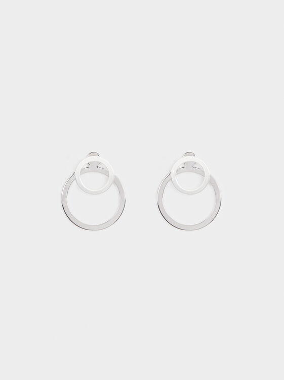 Medium Circle Earrings, Silver, hi-res
