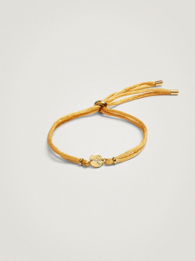 Adjustable Bracelet With Steel Charm, Yellow, hi-res