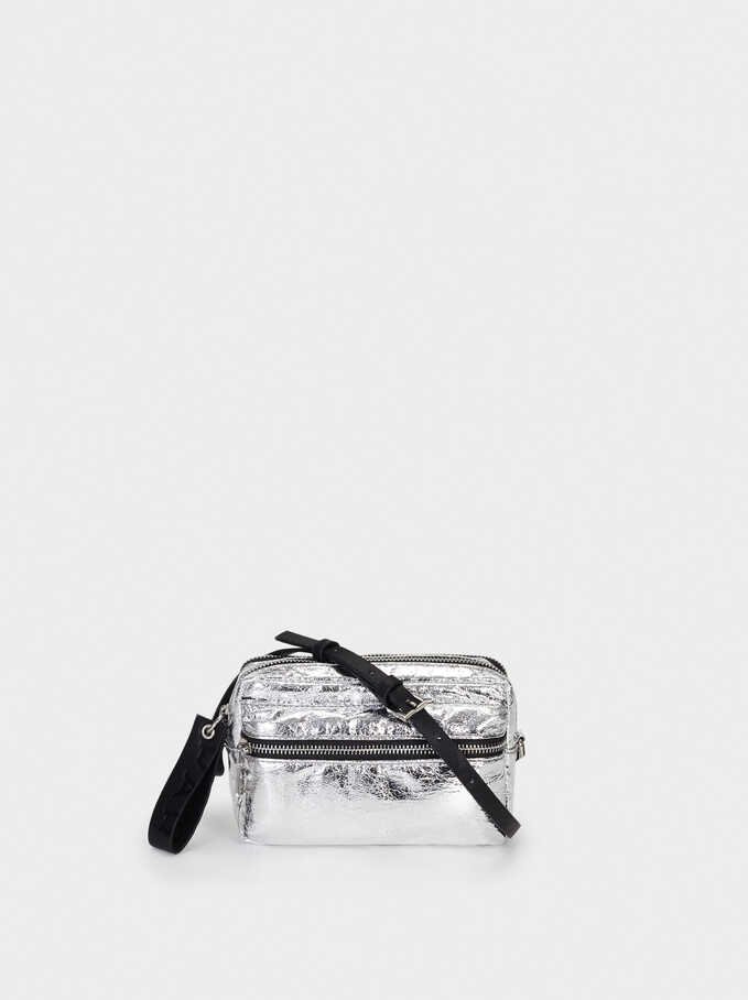 Metallic Crossbody Bag, Silver, hi-res