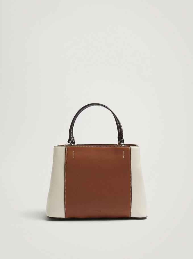 Patchwork Tote Bag With Strap, Camel, hi-res