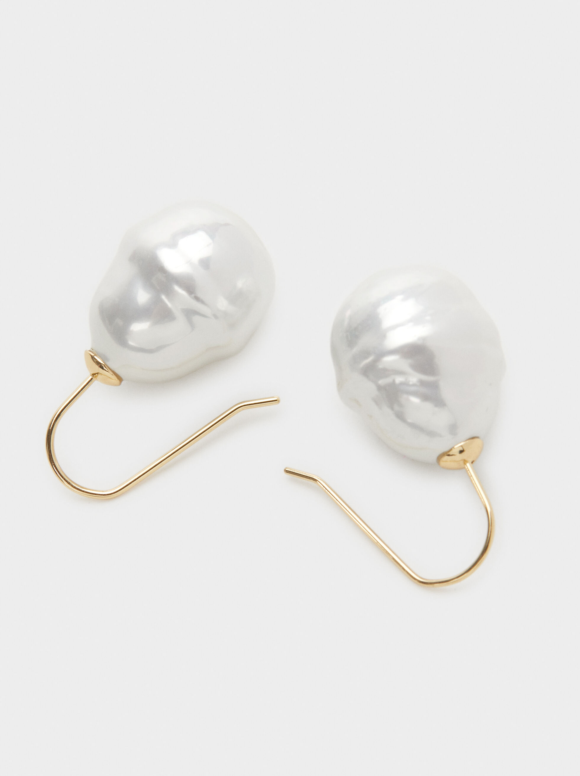 Faux Pearl Short Earrings, White, hi-res