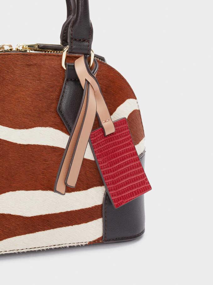 Leather Tote Bag With Animal Print, Brown, hi-res