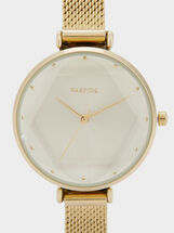 Watch With Thin Metal Mesh Strap, Golden, hi-res