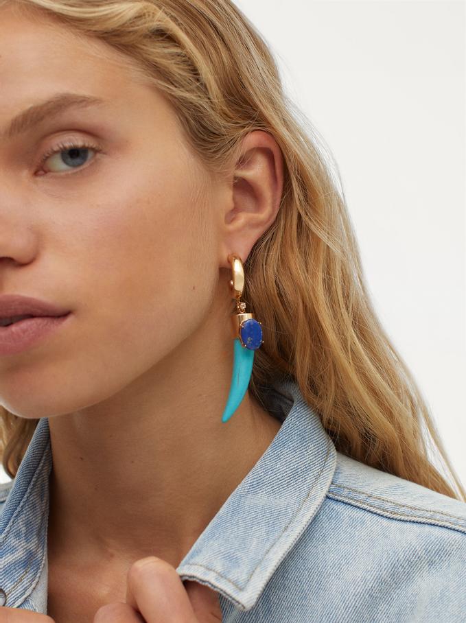 Large Hoop Earrings With Horn, Blue, hi-res