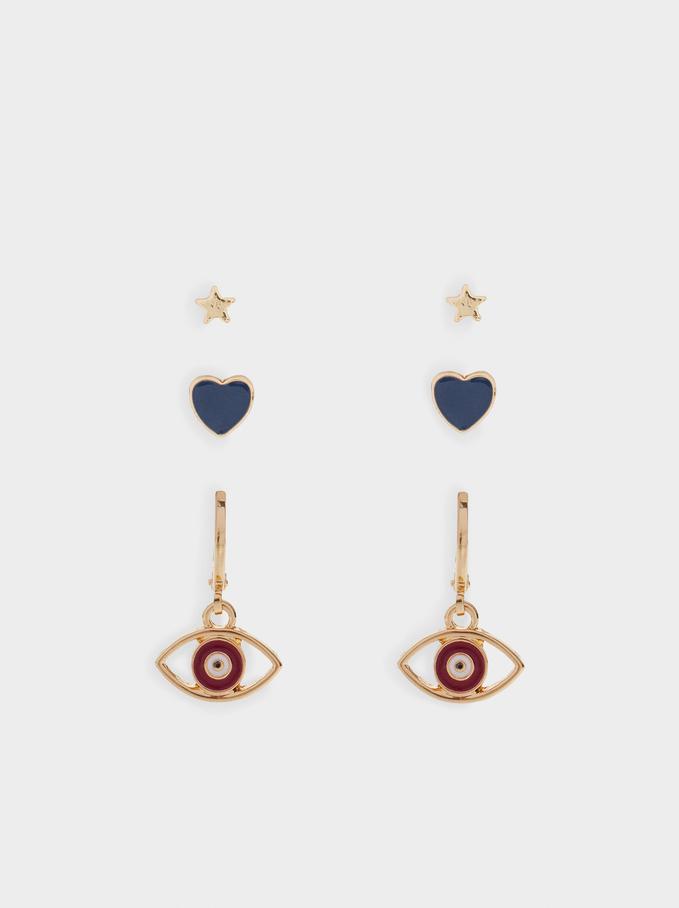 Multicoloured Eye Earrings, Golden, hi-res