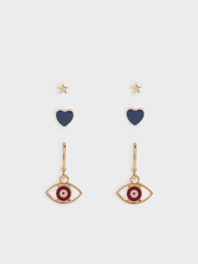 Multicoloured Eye Earrings, Golden, hi-res