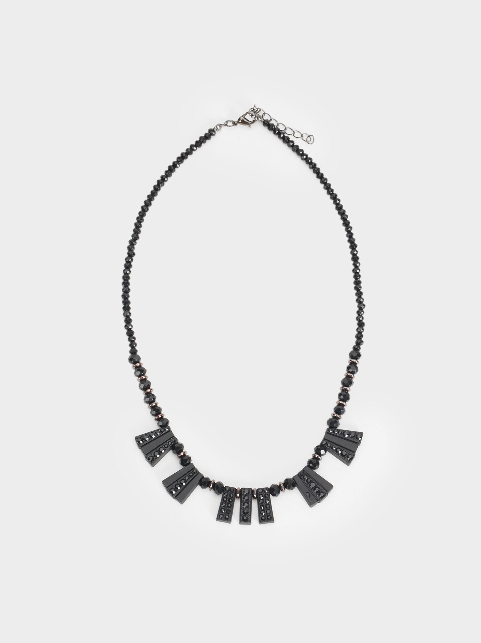 Star Dust Short Necklace With Pendants, Black, hi-res