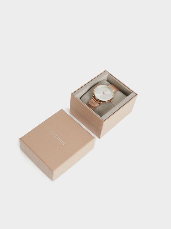 Watch With Steel Wristband, Orange, hi-res