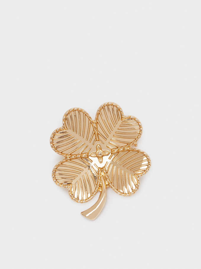 Clover Brooch, Golden, hi-res