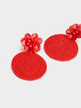 Red Floral Long Earrings, Red, hi-res