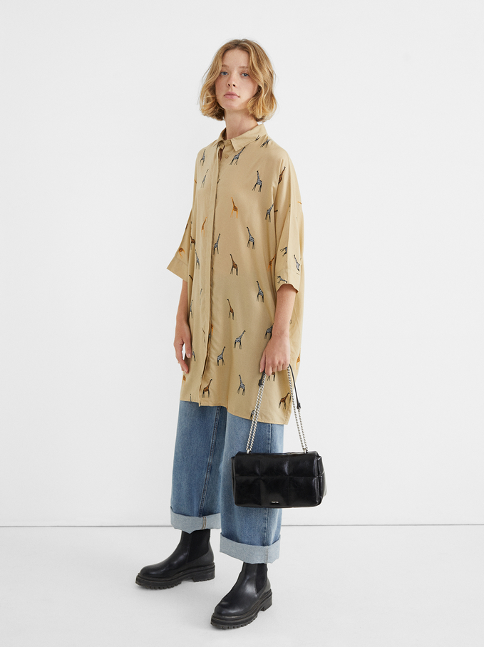 Oversize Dress With Giraffe Print, Beige, hi-res
