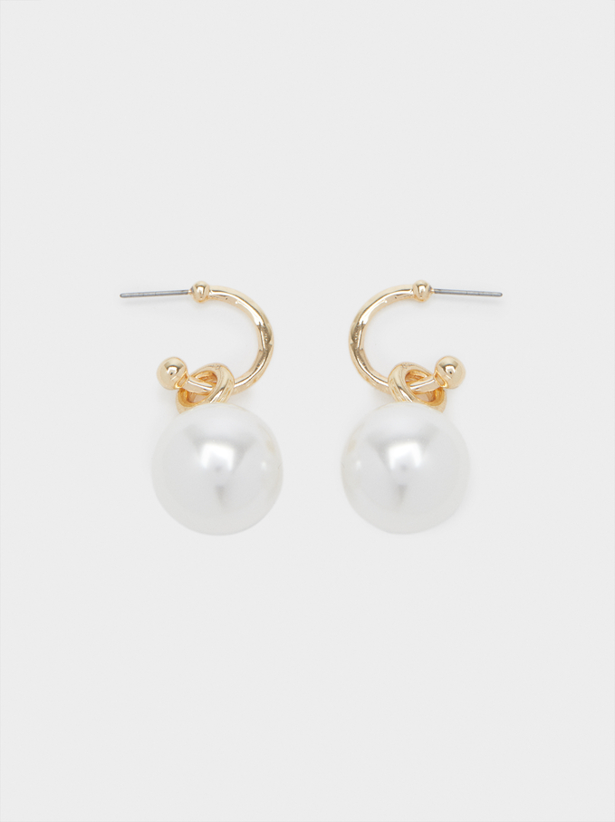 Hoop Earrings With Pearls, Golden, hi-res