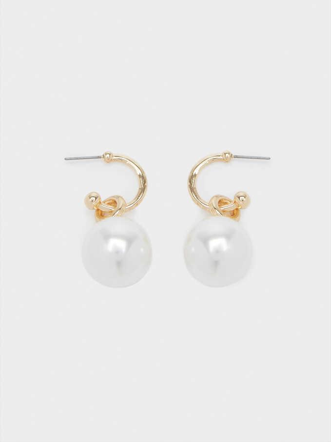 Pendientes De Aro Con Perlas, Dorado, hi-res